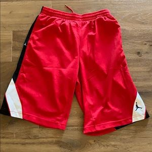 Red Jordan basketball shorts size youth XL